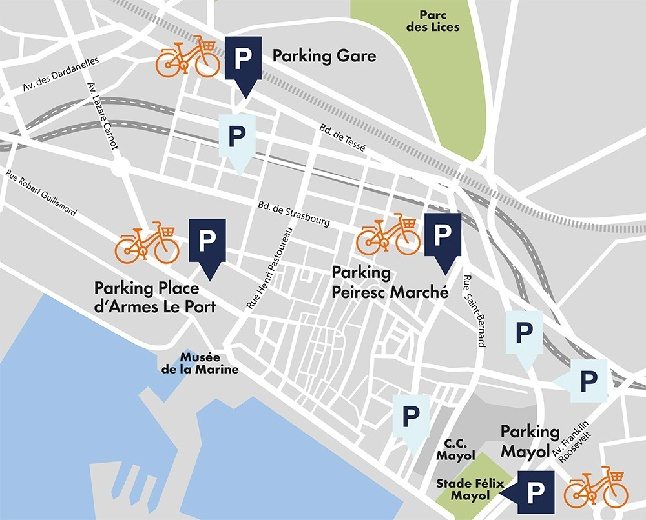 Toulon bike rental locations